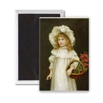 GIRL WITH FLOWER BASKET - 3x2 inch Fridge Magnet - large magnetic button - Magnet