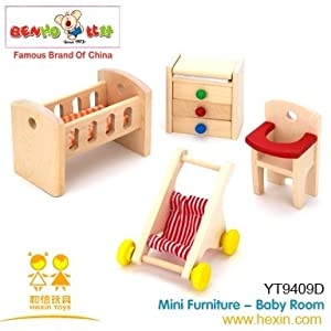 Wooden Nursery Baby 39 S Room Doll House Furniture Set Toys Games