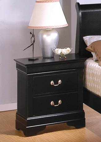 Coaster Nightstand Louis Philippe Style in Deep Black Finish