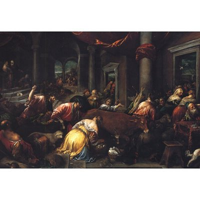 Christ Drives the Dealers from the Temple by Bassano ArtPoster - 13x19 custom fit with RichAndFramous Black 19 inch Poster Hangers