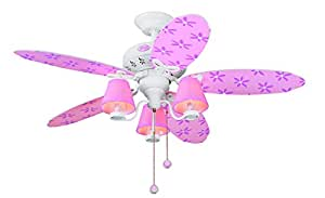 Hunter 23781 44-Inch Dreamland 5-Blade 3-Light Ceiling Fan, White with Pink Blades and Shades