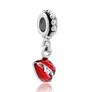 Pugster Damen-bead Silver Plated Red Vampire Lips Tusks Dangle Spacer Bead Für Bettelarmbänder DPC_MY441