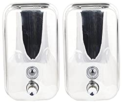 RIPPLES Stainless Steel Soap Dispensers (Pack of 2) - Silver, 18.1 cm x 12.3 cm x 9.9 cm
