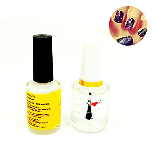 Goldenssy 16ml Colle Ongle Pour Strass Foil Transfert + 15ml Topcoat transparent pour Manucure Nail Art Tip Adhesif