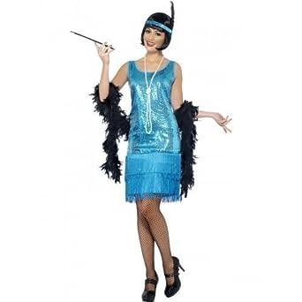 des années 1920 1930 robe bleue à sequins Charleston pour femme
