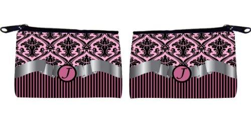 "Rikki Knighttm Letter ""J"" Initial Light Pink Damask And Stripes Monogrammed Scuba Foam Coin Purse front-622176"