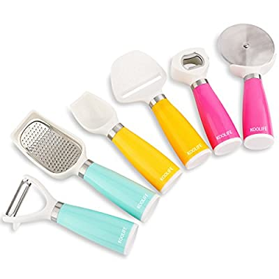 Koolife 6-Pieces Kitchen Gadgets Tools Set- Bottle Opener, Ice Spoon, Fruit Peeler, Cheese Slicer, Pizza Cutter & Ginger Grater, Color Assorted