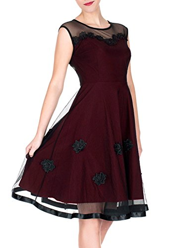 Miusol® Women's Elegant Illusion Floral Lace Cap Sleeve Bridesmaid Prom Dress (Large, Wine)