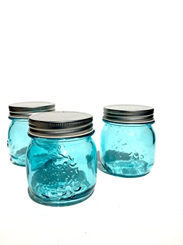 Turquoise glass jar with lid. set of 6 jar