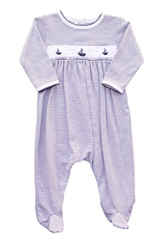 Magnolia Baby Light Blue Smocked Sailboats Footie-9M/Lg front-28155