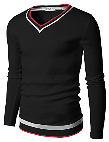 Doublju Mens V-Neck Sweater Pull-over with Tipping, Black, L
