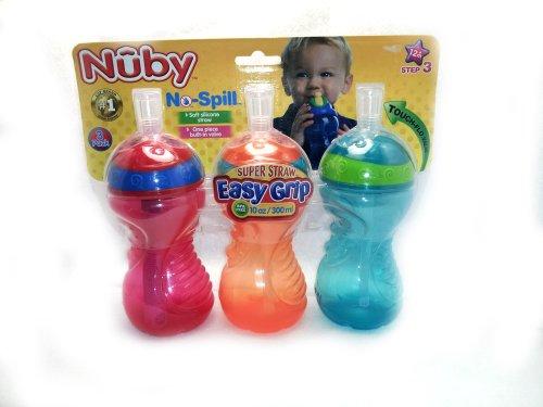 Nuby Super Straw 10-oz Cup - 3 Pack - Boy - 1