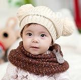 (インスタイルベイビー) InStyle Baby ベビー ニット 帽子 ボンボン 耳付 全5色 クマさん風 子供 防寒