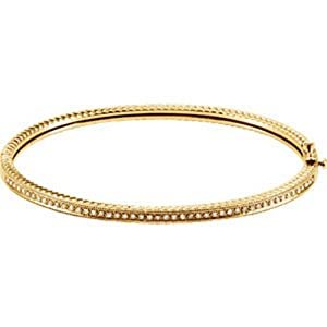 IceCarats Designer Jewelry 14K Yellow Gold Diamond Bangle Bracelet