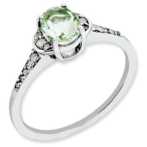 Sterling Silver Green Quartz & Diamond Ring