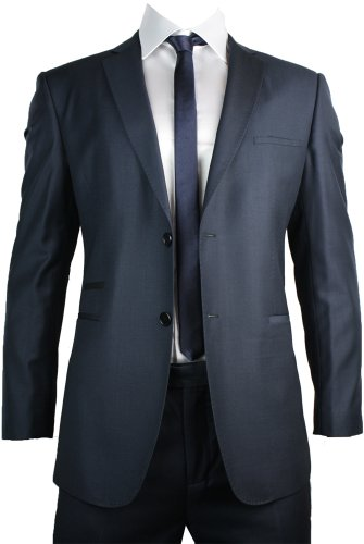 Mens Slim Fit Suit Navy Blue 2 Button Black Piping Office or Party Suit UK Stock