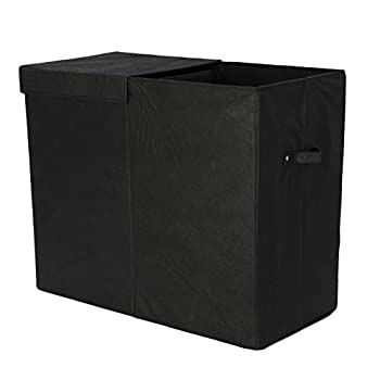 Modern Littles Color Pop Folding Double Laundry Basket with Handles– High-Strength Polymer Construction – Installed Divide for Separating Clothes – Folds for Easy Storage and Transportation – Black