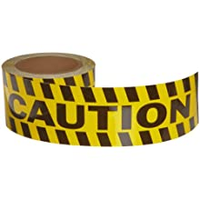 "Brady 60' Length, 3"" Width, B-950 Vinyl, Black And Yellow Color Striped Aisle Marking Tape, Legend ""Caution (With Black And Yellow Diagonal Stripes)"""