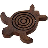 Wooden Turtle Labyrinth Maze - Unique Labyrinth Game Board Travel Peices - Travel Game Set For Kids Children -...