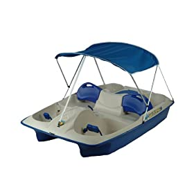 KL Industries Sun Slider Adjustable Seat Lounger Pedal Boat with Canopy by KL Industries