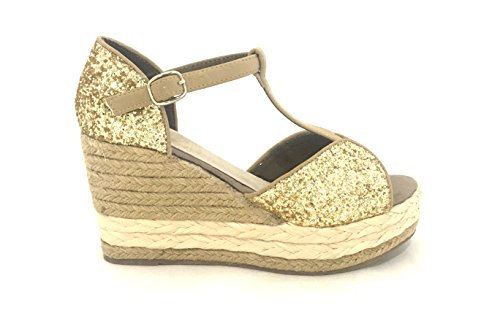 AwAy sandalo zeppa corda glitter oro sandal wedge gold pelle leather