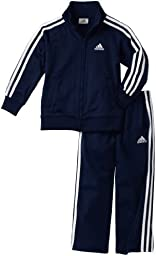 adidas Toddler Boys\' Iconic Tricot Jacket and Pant Set, Navy/White, 4T