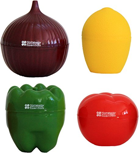 Homeway Essentials Food Savers - Set of 4 Vegetable Keepers - Onion Saver, Tomato Saver, Lemon Saver, Bell Pepper Saver (Onion Storage Container compare prices)