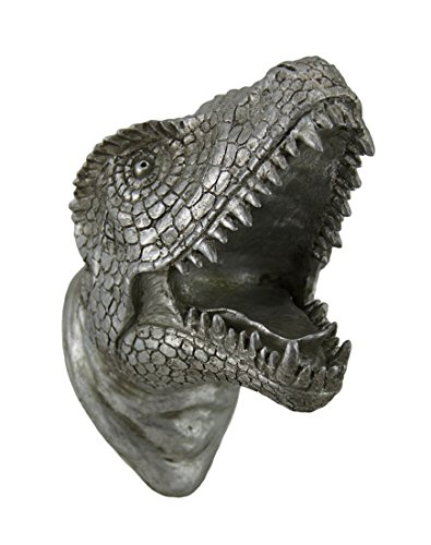 Antique Silver Finish Dinosaur Head Wall Sculpture