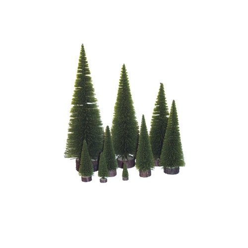Vickerman Unlit Pine Village Tree, 3-Inch, Moss Green