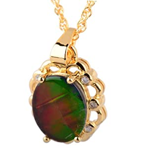 Silver Gold Plated Ammolite Flower Style Pendant with White 7 Diamonds 1mm on a 18