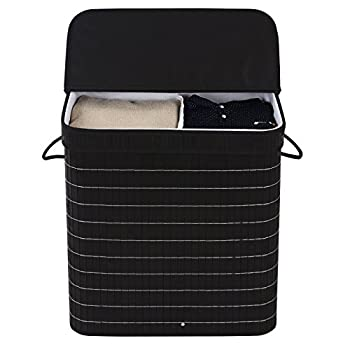 SONGMICS Bamboo Laundry Basket Double Clothes Hampers with Lid Compartment Hamper Rectangular Black ULCB64H