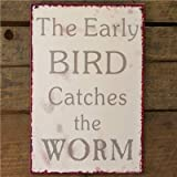 Metal Sign Early Bird Catches The Worm - 20 X 30 Cream Wall Signby Carousel Home
