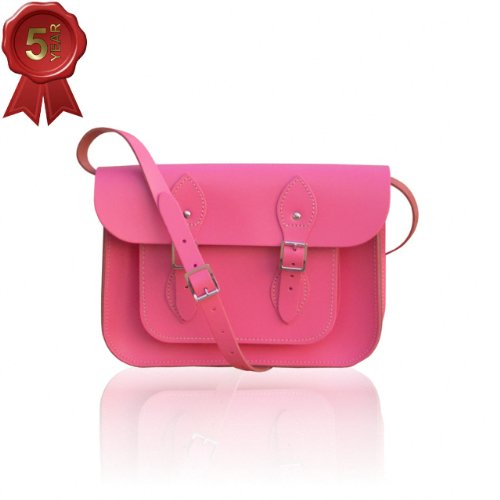 Small Vintage Style Satchel hand-crafted from Baby Pink Leather (11-inches Wide)
