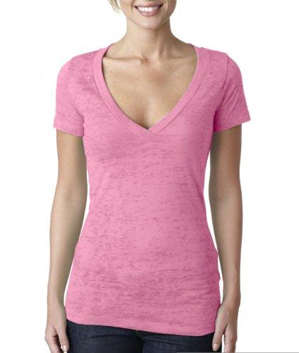 Next Level Women'S Soft Burnout Deep V-Neck T-Shirt, Neon Pink, Xx-Large front-746491