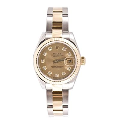 Rolex Ladys 179173 Datejust Steel & 18k Gold, Oyster Band, Fluted Bezel & Champagne Diamond Dial