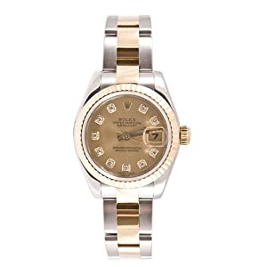 Rolex Ladys New Style Heavy Band Stainless Steel & 18K Gold Datejust Model 179173 Oyster Band Fluted Bezel Champagne Diamond Dial