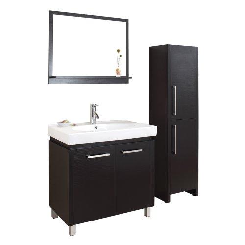 Virtu USA ES-1432-ES Harmen 32-Inch Single Sink Bathroom Vanity with Mirror, Ceramic Countertop with Integrated Basin, Espresso Finish