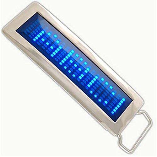 Ikkegol Programmable Blue Diy Text Flash Led Chrome Scrolling Belt Buckle Disc Party (Blue)