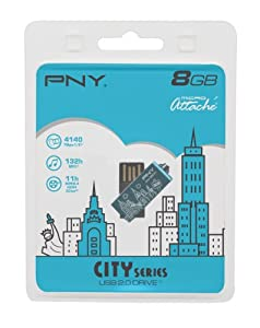 PNY Micro AttachÚ City Series - USB flash drive - 8 GB - USB 2.0 - dark grey