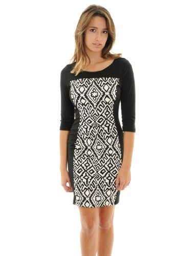 Womens Dress Black White Print Dress Form Fitting Sheath Dress Sizes: Small (White Form Fitting Dress compare prices)
