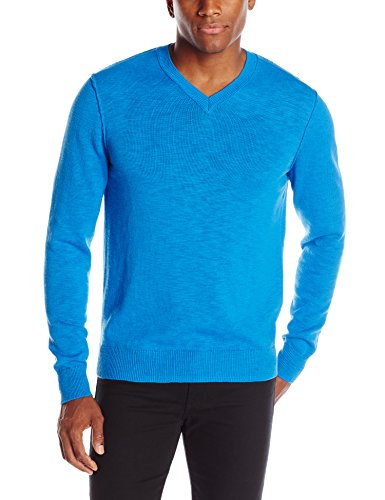 Lucky Brand Men's White Label V-Neck Sweater, Cobalt, X-Large