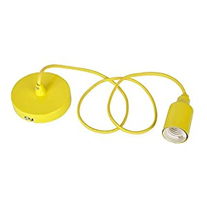 Modern Yellow Ceiling Rose / Braided Flex Lamp Holder Pendant Light Fitting Kit by MiniSun