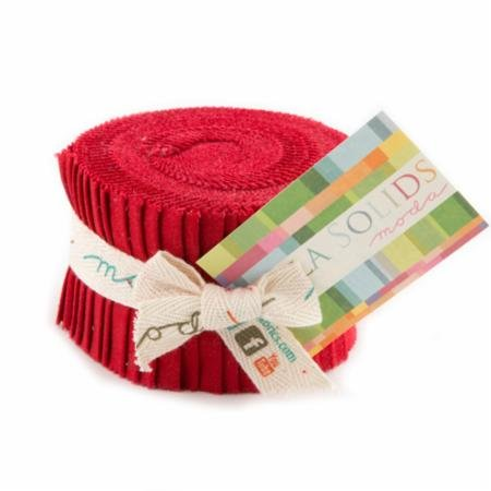 Bella Solids Red Jr Jelly Roll (9900JJR 16) by Moda House Designer for Moda, 2.5 x 44 inch strips (Jelly Rolls Solids compare prices)