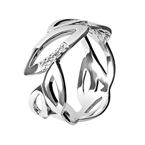 Hot Diamonds Multi Leaf Silver And Diamond Ring - Size N