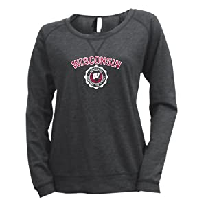 NCAA Wisconsin Badgers Ladies Striped Baby French Terry Crew Sweatshirt by Ouray Sportswear