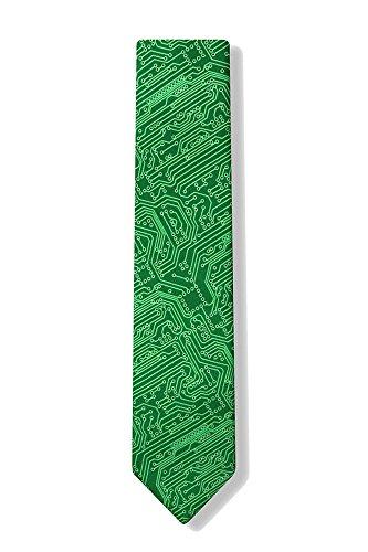 Men's Microfiber Green Computer Science Circuit Board Geek Narrow Skinny Necktie Neck Tie Neckwear