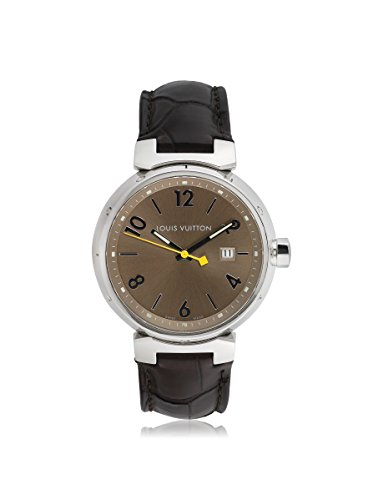 Louis Vuitton Men's Pre-Owned Tambour Brown/Black Leather Watch