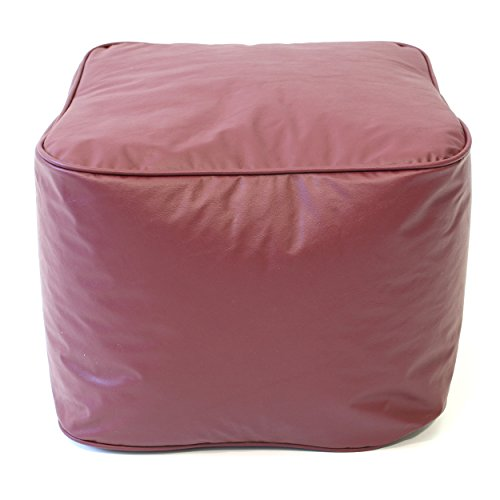 Gold Medal Leather Look Vinyl Ottoman, Small, Wine - 1
