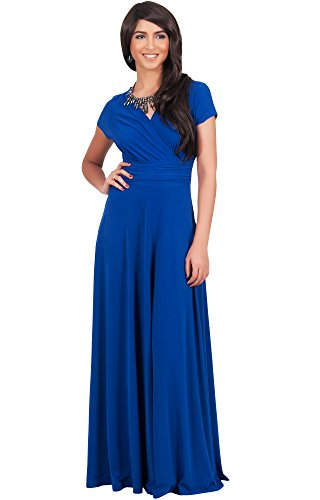 KOH KOH Plus Size Womens Long Sexy Cap Short Sleeve V-neck Flowy Cocktail Gown Maxi Dress, Color Cobalt / Royal Blue, Size 2X Large / XXL / 18-20 (Cobalt Blue Bridesmaid Dresses compare prices)