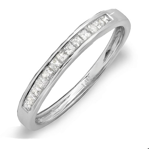 0.33 Carat (ctw) 14k White Gold Princess Diamond